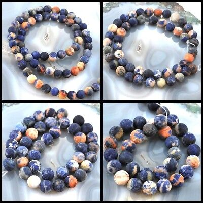 "Wholesale Natural Smooth Golden Blue Sodalite Matte Round Beads 15""6,8,10,12mm"