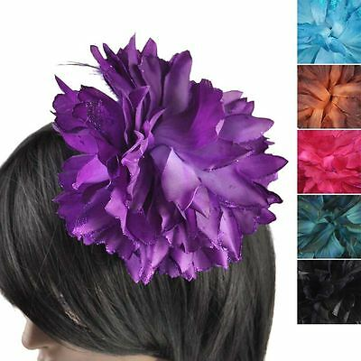 Large Cheap Corsage Sheer Lace Feather Flower Hair Clip Facinator Brooch Elastic