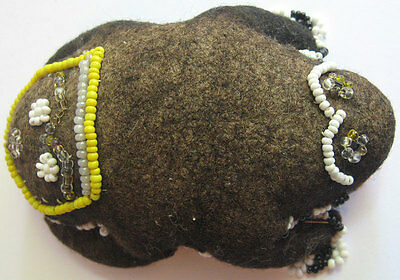 Antique American Indian Hand Sewn Felted Beaded Frog Pin Cushion