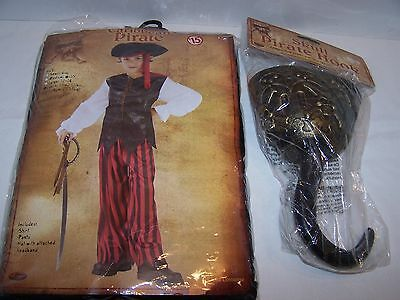 Halloween Caribbean Pirate Costume Child's Size L 12-14 w/ Pirate Hook NEW