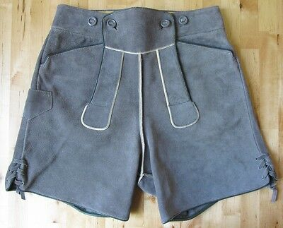 Vintage German BERGFREUND Gray Suede Leather Oktoberfest Lederhosen Shorts Sz 44