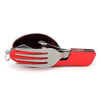 Handy Design Camping Picnic Travel 3 in 1 Folding Spoon Fork Knife Tableware Red