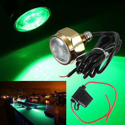 Green IP68 Waterproof Boat Drain Plug Light  Rate 9 LED brightest 27W 1800 LM