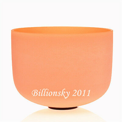 Orange Colored Frosted D# Sexual Chakra Quartz Crystal Singing Bowl 8""