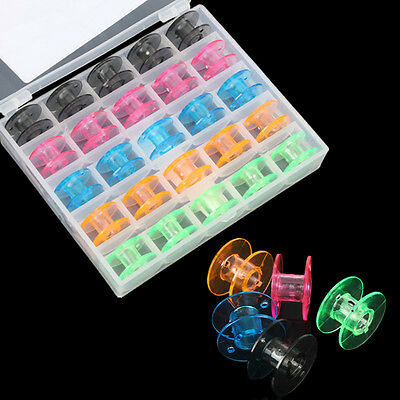 25 PCS/Box Clear Color Bobbin Box Sewing Machine Spool Brother Babylock Singer