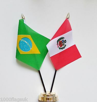 Brazil & Peru Double Friendship Table Flag Set