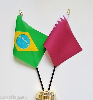 Brazil & Qatar Double Friendship Table Flag Set