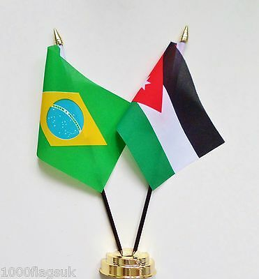 Brazil & Jordan Double Friendship Table Flag Set