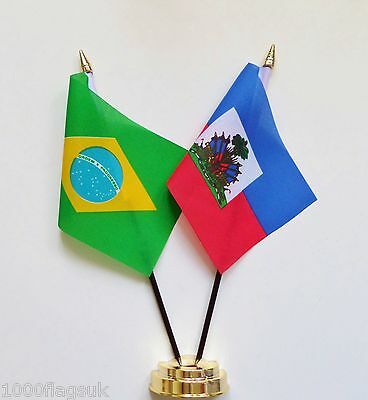 Brazil & Haiti State Crest Double Friendship Table Flag Set