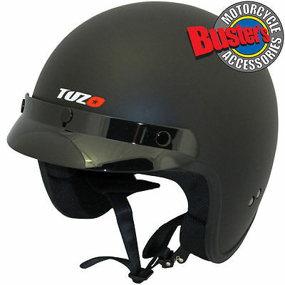 Tuzo Jet Open Face Motorcycle Scooter Motorbike Crash Helmet Matt Black Medium