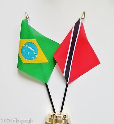 Brazil & Trinidad and Tobago Double Friendship Table Flag Set
