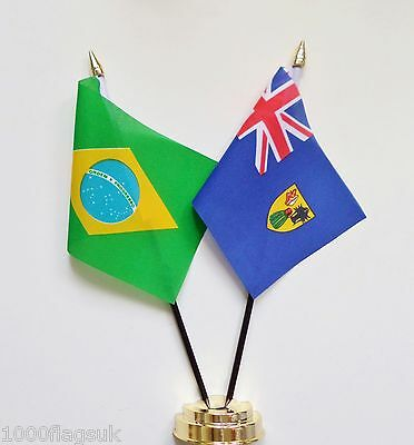 Brazil & Turks and Caicos Islands Double Friendship Table Flag Set
