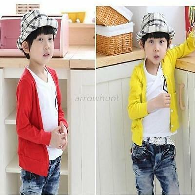 Kids Boys Girls Spring Fall Clothes Long Sleeved Candy Color Cardigan Coats 1-6Y