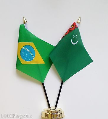 Brazil & Turkmenistan Double Friendship Table Flag Set