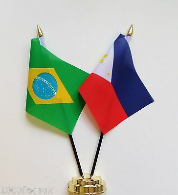 Brazil & Philippines Double Friendship Table Flag Set