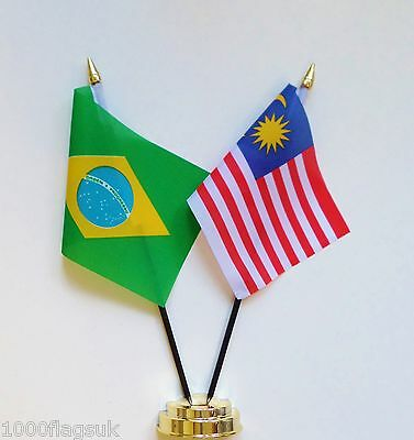 Brazil & Malaysia Double Friendship Table Flag Set