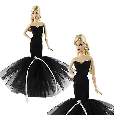 2in1 Handmade High-quality Black Dress Clothes For Barbie Doll H21U