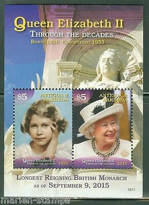 Antigua  2015  Queen Elizabeth Ii Longest Reigning Monarch S/sheet  Mint Nh
