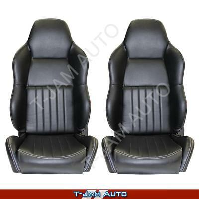 Classic High Back Pair 2 x Black Leather Car Bucket Seats - Volkswagon NEW