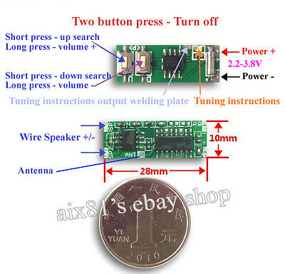 Mini 70-108Mhz MCU DSP FM Radio Receiver Module Audio Power 3W Power-down Memory