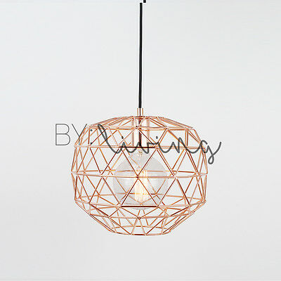 Modern Nordic Minimal Copper round metal wire cage hanging pendant light