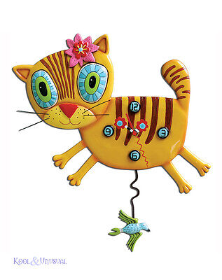 "Adorable ""Kimi Kitty"" Ginger Cat Designer Wall Clock by Allen Designs"