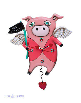 """Quirky Pink """"When Pigs Fly"""" Pig Designer Wall Clock by Allen Designs"""