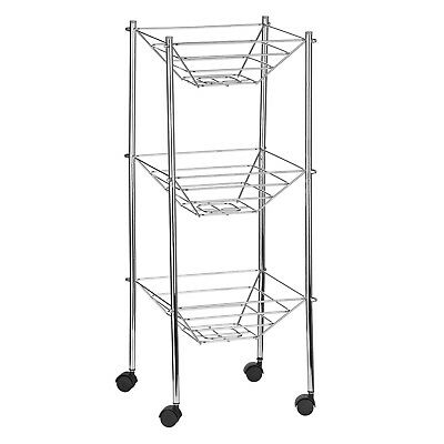 Premier Housewares 27.5X27.5X69Cm 3 Tier Kitchen Storage Cart Carrier Chrome New