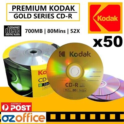 PREMIUM 50 x KODAK CD GOLD Blank CD-R 52x 80min Recordable Disc TDK CD Quality