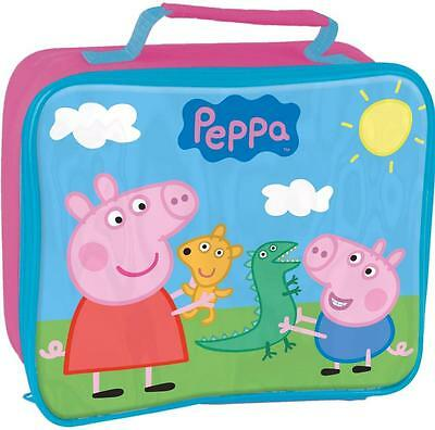 Peppa Pig George Kids Insulated School Nursery Lunch Sandwich Bag Box Pink New