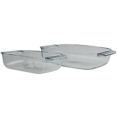 Pyrex 2 Piece Classic Easy Grip Glass Small Rectangular Bakeware Roasters Set