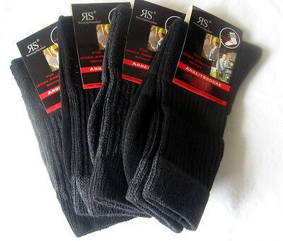 4 Pair Men's Work socks top quality with cotton grey and black 39 - 42