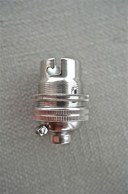 Nickel Bayonet Fitting Bulb Holder Lamp Holder Earthed With Shade Ring 10Mm L1