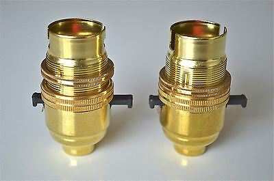 2 Brass Switch Bayonet Fitting Lamp Bulb Holder Lamp Shade Ring 1/2 Inch R1