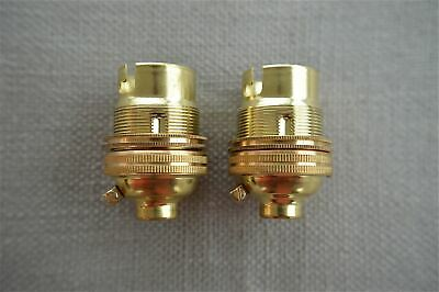 2 Brass Bayonet Fitting Bulb Holder Lamp Holder Earthed With Shade Ring 10Mm L2