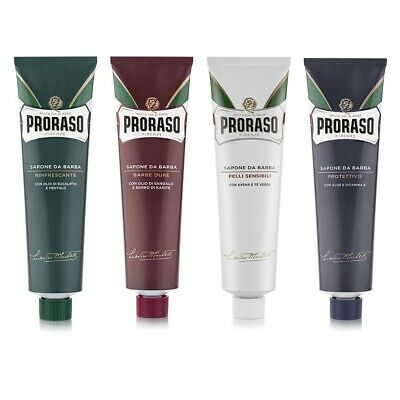 4 Tube Selection Pack - Proraso shaving cream green/blue/red/white 150ml tubes