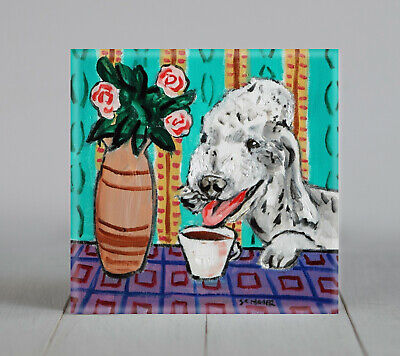 Bedlington Terrier coffee art tile coaster gift new animals dog impressionism