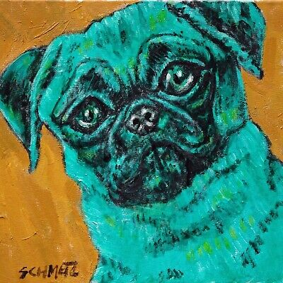 green pug art tile coaster gift new animals dog impressionism