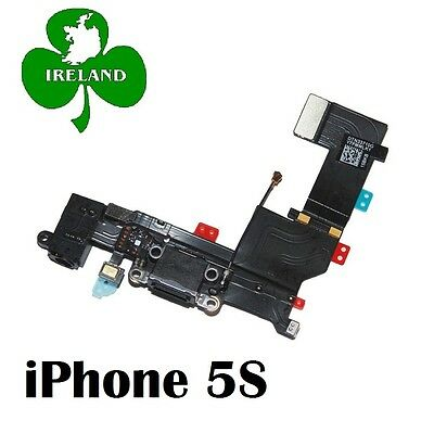 For iPHONE 5S CHARGING USB DOCK PORT AND AUDIO JACK CONNECTOR BLACK REPLACEMENT