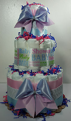 3 Tier Diaper Cake Pink and Blue Gender Reveal Party Baby Shower Centerpiece