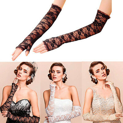 Sexy Bride Wedding Evening Party Prom Fingerless Lace Bridal Long Gloves Costume