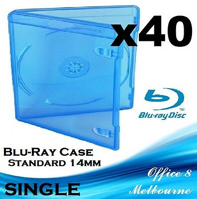 Australian Standard 40 x Single Blu Ray Case PS3 Game Case PS4 Cover BluRay 14mm