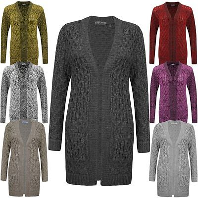 Ladies Womens Long Line Cable Aran Knitted Open Cardigan Pocket Dress Top 8-14
