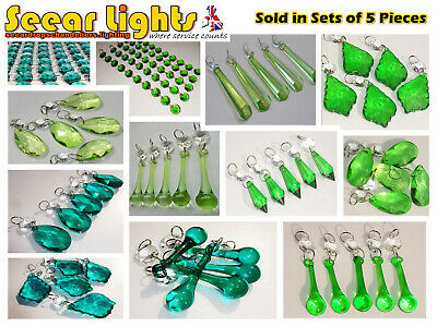 Chandelier Cut Glass Crystals Drops Green Oval Prisms Light Droplets Retro Parts