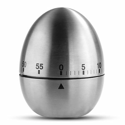 Stainless Steel 60 Minute Mechanical Alarm Egg Shape Kitchen Timer Metal NEW