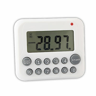 Cooking 99 Minute Kitchen 12 Key Clock Timer Digital LCD Sport Countdown White