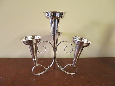 ANTIQUE Silver Plated Epergne With Four Trumpets.