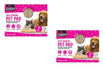 2 x Self Heating Pet Mats Thermal Cat Puppy Dog Mat Bed Animal Warm Washable Rug