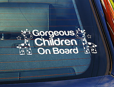Static Cling Window Car Sign/Decal Gorgeous Children On Board Giraffes 4