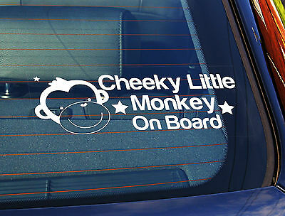 Static Cling Window Car Sign/Decal Cheeky Little Monkey On Board Boy 9